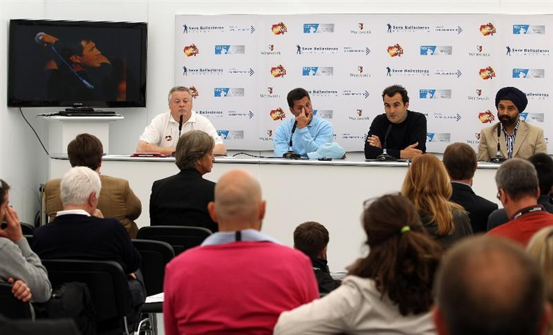 VIRGINIA WATER, ENGLAND - MAY 23:  (L-R) Scott Crockett, European Tour Chief Press Officer, Jose Maria Olazabal of Spain, Ivan Ballesteros, newphew of Seve and Harpal Kumar CEO of Cancer Research UK talk to the media during a press conference for the 'Ole Seve' Pro-Am in aid of the Seve Ballesteros Foundation at Wentworth Club on May 23, 2011 in Virginia Water, England.  (Photo by Richard Heathcote/Getty Images)