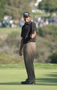 Arjun Atwal reacts to a missed putt on the 16th green  during the final round of the PGA TOUR's 2006 Buick Invitational at Torrey Pines South in La Jolla, California January 29, 2006.Photo by Steve Grayson/WireImage.com