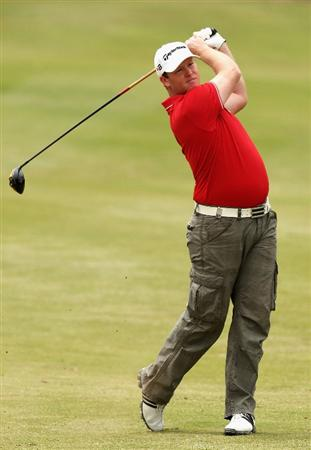 MELBOURNE, AUSTRALIA - NOVEMBER 29:  Marcus Fraser of Australia plays his second shot on the sieventh hole during the third round of the 2008 Australian Masters at Huntingdale Golf Club on November 29, 2008 in Melbourne, Australia  (Photo by Quinn Rooney/Getty Images)