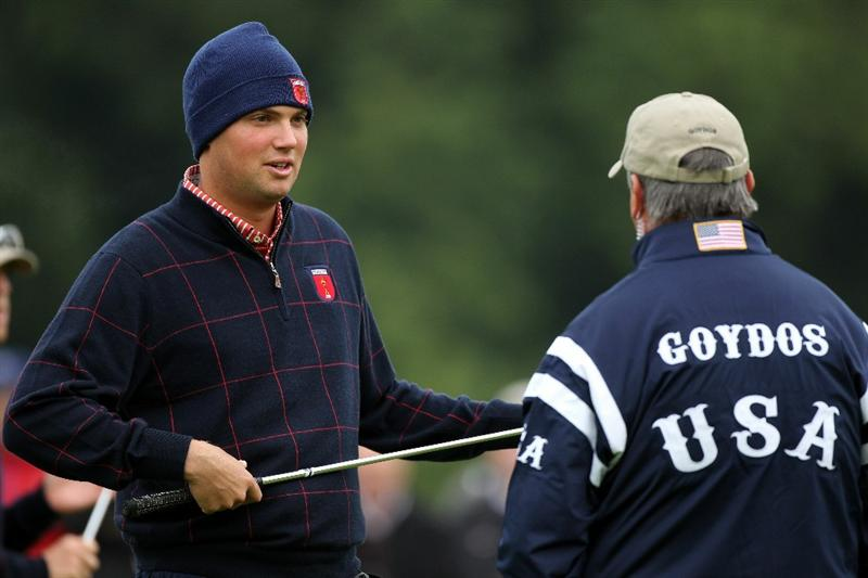 NEWPORT, WALES - SEPTEMBER 30:  USA Vice Captain Paul Goydos chats with Jeff Overton (L)  during a practice round prior to the 2010 Ryder Cup at the Celtic Manor Resort on September 30, 2010 in Newport, Wales.  (Photo by Andy Lyons/Getty Images)