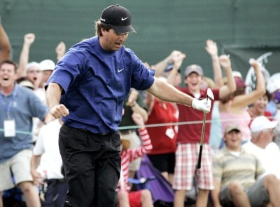 Chris Couch after making a par saving chip on the 18th hole to win the Zurich Classic of New Orleans at the English Turn Golf & Country Club in New Orleans, Louisiana on April 30, 2006.Photo by Gregory Shamus/WireImage.com