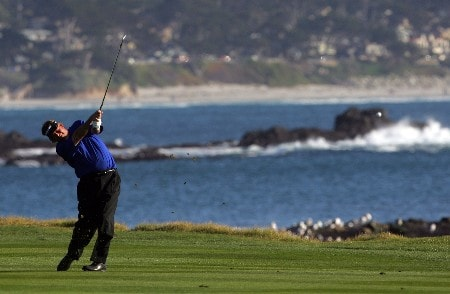PEBBLE BEACH, CA - FEBRUARY 10:  Steve Lowery hits his second shot on the first playoff hole during the final round of the AT&T Pebble Beach National Pro-Am at the Pebble Beach Golf Links February 10, 2008 in Pebble Beach, California.  (Photo by Jeff Gross/Getty Images)