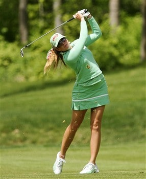 CORNING, NY - MAY 24:  Paula Creamer hits her second shot on the 10th hole during the third round of the LPGA Corning Classic at Corning Country Club on May 24, 2008 in Corning, New York.  (Photo by Kyle Auclair/Getty Images)