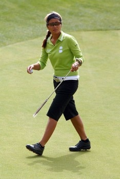 Jennifer Rosales walks off the first green during the second round of the 2005 Office Depot Championship at Trump National Golf Club Los Angeles in Rancho Palos Verdes, California October 1, 2005.Photo by Steve Grayson/WireImage.com