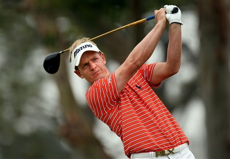 SAN DIEGO - JUNE 13:  Luke Donald of England hits a tee shot on the fifth hole during the second round of the 108th U.S. Open at the Torrey Pines Golf Course (South Course) on June 13, 2008 in San Diego, California.  (Photo by Ross Kinnaird/Getty Images)
