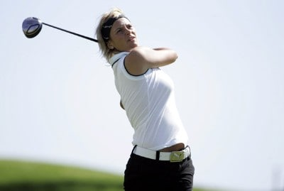 Nicole Perrot drives on the seventh tee during the Pro AM at the Fields Open in Hawaii golf tournament Feb. 22, 2006 at the Ko Olina Resort Golf Club in Kapolei, on the island of Oahu, Hawaii.Photo by Marco Garcia/WireImage.com
