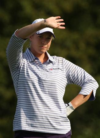 BETHLEHEM, PA - JULY 10:  Brittany Lincicome waits to hit on the 2nd hole during the second round of the 2009 U.S. Women's Open at Saucon Valley Country Club on July 10, 2009 in Bethlehem, Pennsylvania.  (Photo by Streeter Lecka/Getty Images)