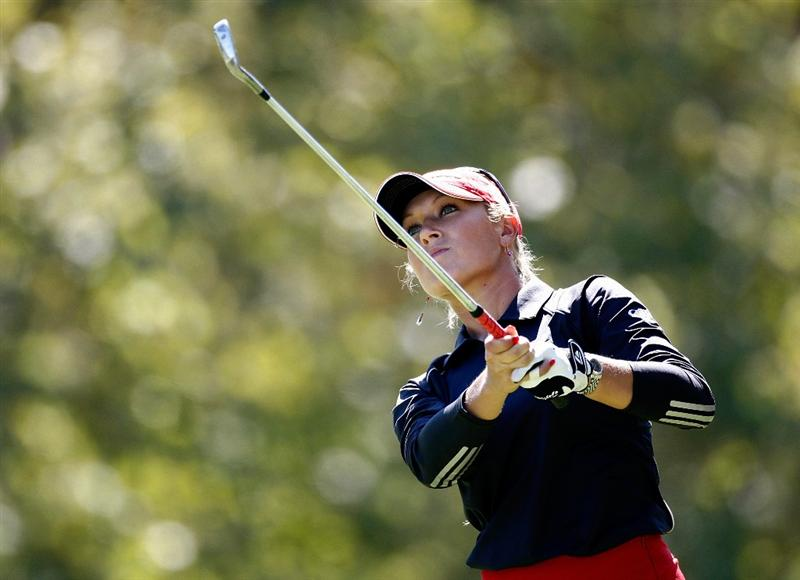 DANVILLE, CA - SEPTEMBER 25:  Natalie Gulbis tees off on the 7th hole during the second round of the CVS/pharmacy LPGA Challenge at Blackhawk Country Club on September 25, 2009 in Danville, California.  (Photo by Jonathan Ferrey/Getty Images)