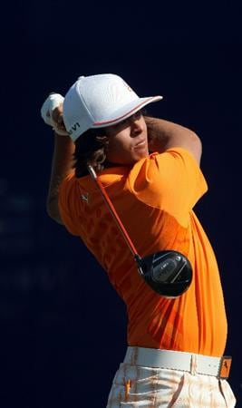 LA JOLLA, CA - JANUARY 29:  Rickie Fowler tees off the 7th hole during Round 3 of the Farmers Insurance Open at Torrey Pines on January 29, 2011 in La Jolla, California. (Photo by Donald Miralle/Getty Images)