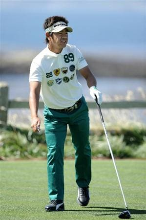 PEBBLE BEACH, CA - JUNE 16:  Hiroyuki Fujita of Japan watches his shot during a practice round prior to the start of the 110th U.S. Open at Pebble Beach Golf Links on June 16, 2010 in Pebble Beach, California.  (Photo by Harry How/Getty Images)