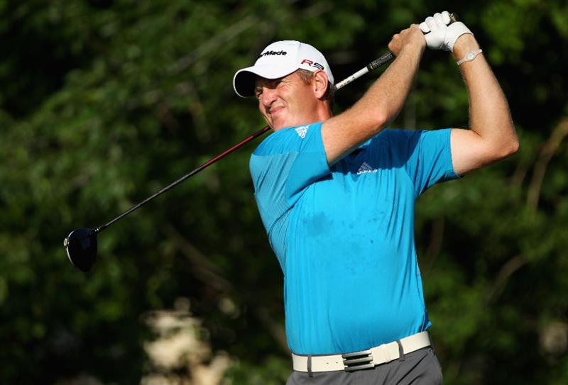 PONTE VEDRA BEACH, FL - MAY 06:  Greg Owen of England hits his tee shot on the fifth hole during the first round of THE PLAYERS Championship held at THE PLAYERS Stadium course at TPC Sawgrass on May 6, 2010 in Ponte Vedra Beach, Florida.  (Photo by Scott Halleran/Getty Images)