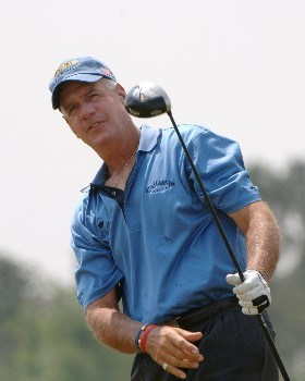 Bruce Fleisher  drives from the fifth tee  during   the final  round of the 2005 Blue Angels Class  May 15 in Milton, Fl.Photo by Al Messerschmidt/WireImage.com