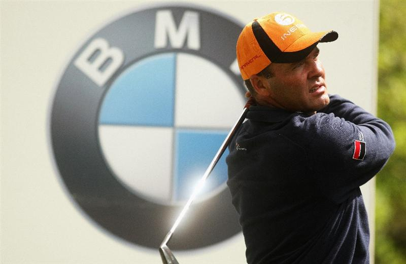 WENTWORTH, ENGLAND - MAY 19:  Thomas Levet of France tees off on the fifth hole during the Previews of the BMW PGA Championship at Wentworth on May 19, 2009 in Virginia Water, England.  (Photo by Warren Little/Getty Images)