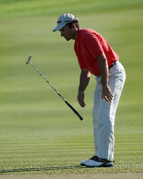 ABU DHABI, UNITED ARAB EMIRATES - JANUARY 20:  Ignacio Garrido of Spain just misses a birdie with his long putt at the 17th hole during the final round of the Abu Dhabi Golf Championship at the Abu Dhabi Golf Club on January 20, 2008 in Abu Dhabi, United Arab Emirates.  (Photo by David Cannon/Getty Images)
