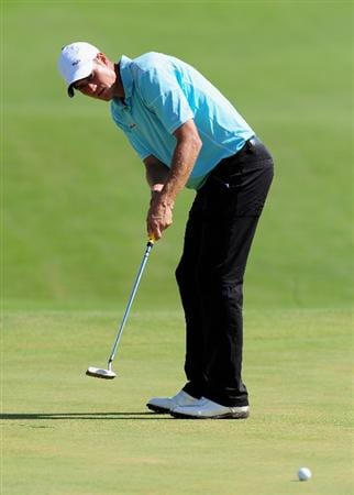 VILAMOURA, PORTUGAL - OCTOBER 15:  Mads Vibe-Hastrup of Denmark putting on the 18th hole during the first round of the Portugal Masters at the Oceanico Victoria Golf Course on October 15, 2009 in Vilamoura, Portugal.  (Photo by Stuart Franklin/Getty Images)