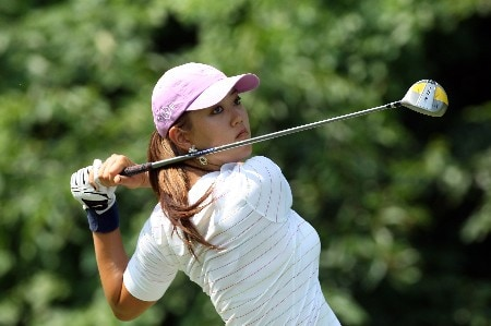HAVRE DE GRACE, MD - JUNE 08:  Michelle Wie of the USA hits her tee shot at the par 4, 9th hole during the second round of the 2007 McDonald's LPGA Championship held at Bulle Rock golf course, on June 8, 2007 in Havre de Grace, Maryland.  (Photo by David Cannon/Getty Images)
