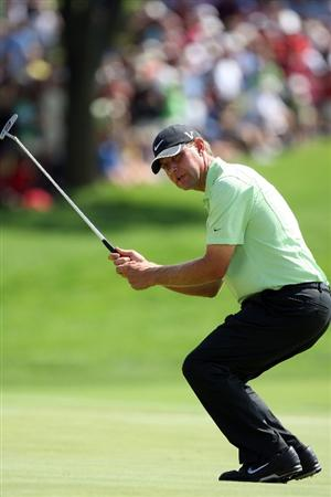 CHASKA, MN - AUGUST 16:  Lucas Glover reacts to his missed birdie putt on the seventh hole during the final round of the 91st PGA Championship at Hazeltine National Golf Club on August 16, 2009 in Chaska, Minnesota.  (Photo by David Cannon/Getty Images)