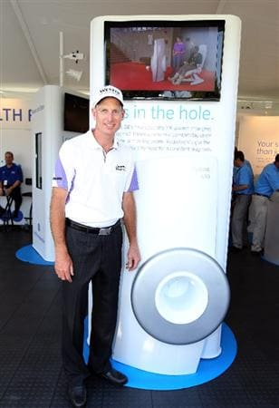 ORLANDO, FL - MARCH 23:  Jim Furyk poses next to a display during the GE official annoucement as a marketing partner with the PGA TOUR at Bay Hill Club and Lodge on March 23, 2011 in Orlando, Florida.  (Photo by Sam Greenwood/Getty Images)