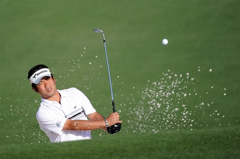 AUGUSTA, GA - APRIL 05:  Yuta Ikeda of Japan plays from a bunker during a practice round prior to the 2010 Masters Tournament at Augusta National Golf Club on April 5, 2010 in Augusta, Georgia.  (Photo by Harry How/Getty Images)