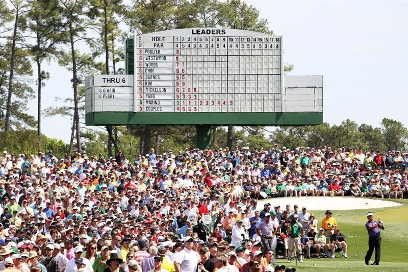 AUGUSTA, GA - APRIL 10:  K.J. Choi of South Africa hits his tee shot on the third hole during the third round of the 2010 Masters Tournament at Augusta National Golf Club on April 10, 2010 in Augusta, Georgia.  (Photo by Jamie Squire/Getty Images)