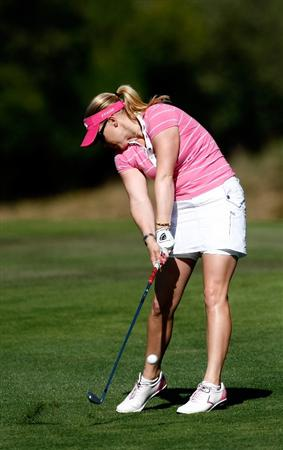 DANVILLE, CA - SEPTEMBER 24:  Morgan Pressel hits on te 14th hole during the first round of the CVS/pharmacy LPGA Challenge at Blackhawk Country Club on September 24, 2009 in Danville, California.  (Photo by Jonathan Ferrey/Getty Images)