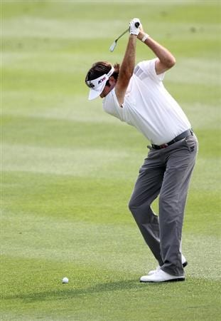 ORLANDO, FL - MARCH 27:  Bubba Watson plays a shot on the 8th hole during the final round of the Arnold Palmer Invitational presented by MasterCard at the Bay Hill Club and Lodge on March 27, 2011 in Orlando, Florida.  (Photo by Sam Greenwood/Getty Images)