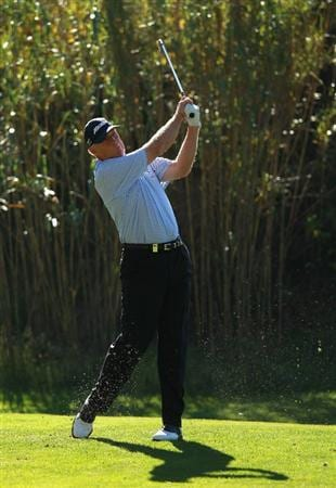 CASTELLON DE LA PLANA, SPAIN - NOVEMBER 06:  Nick Job of England tees off on the 14th hole during the second round of the OKI Castellon Senior Tour Championships at Club de Campo del Mediteraneo on November 6, 2010 in Castellon de la Plana, Spain.  (Photo by Warren Little/Getty Images)