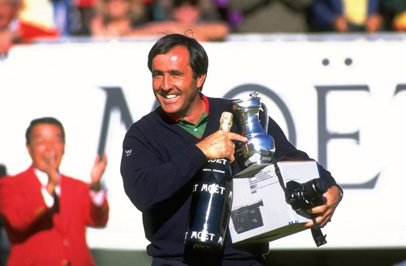 1993:  Portrait of Seve Ballesteros of Spain holding the trophy and a magnum of champagne after winning the Canon European Masters at the Crans-Sur-Sierre Golf Club in Switzerland. \ Mandatory Credit: David  Cannon/Allsport