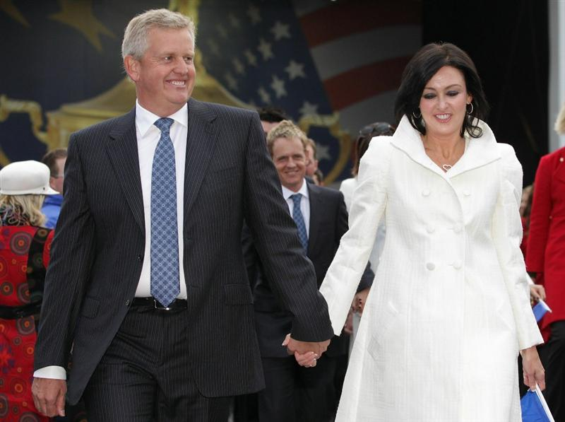 NEWPORT, WALES - SEPTEMBER 30:  Team Captain Colin Montgomerie of Europe and Wife Gaynor lead out the players and their wives and girlfriends during the Opening Ceremony prior to the 2010 Ryder Cup at the Celtic Manor Resort on September 30, 2010 in Newport, Wales.  (Photo by Andrew Redington/Getty Images)