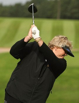HALMSTAD, SWEDEN - SEPTEMBER 12:  Laura Davies of Europe hits a shot during practice prior to the start of the Solheim Cup at Halmstad Golf Club on September 12, 2007 in Halmstad, Sweden.  (Photo by Jonathan Ferrey/Getty Images)