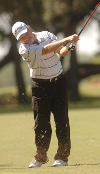 Rocky Thompson hits from the fourth fairway during the first round of the Champion's TOUR 2005 SBC Championship at Oak Hills Country Club in San Antonio, Texas October 21, 2005.Photo by Steve Grayson/WireImage.com