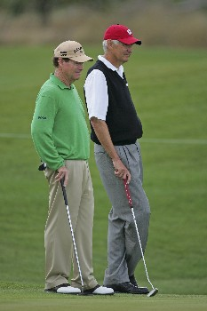 Tom Watson waits with his partner Andy North during the second round of the 2005 Libery Mutual Legends of Golf.  Saturday April 23, 2005.Photo by Chris Condon/PGA TOUR/WireImage.com