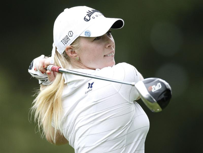 SYLVANIA, OH - JULY 02: Morgan Pressel watches her drive on the seventh hole during the first round of the Jamie Farr Owens Corning Classic at Highland Meadows Golf Club on July 2, 2009 in Sylvania, Ohio.  (Photo by Gregory Shamus/Getty Images)