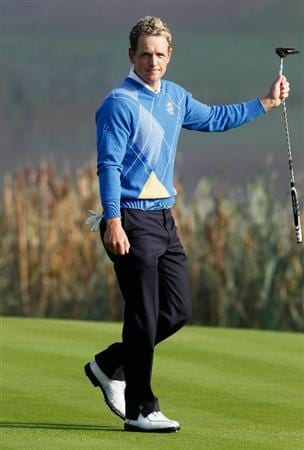 NEWPORT, WALES - OCTOBER 04:  Luke Donald of Europe acknowledges the crowd on the third green in the singles matches during the 2010 Ryder Cup at the Celtic Manor Resort on October 4, 2010 in Newport, Wales.  (Photo by Sam Greenwood/Getty Images)