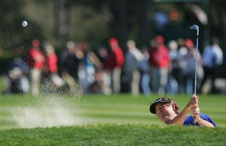 PEBBLE BEACH, CA - FEBRUARY 10:  Steve Lowery hits a bunker shot to the 12th green during the final round of the AT&T Pebble Beach National Pro-Am at the Pebble Beach Golf Links February 10, 2008 in Pebble Beach, California.  (Photo by Jeff Gross/Getty Images)