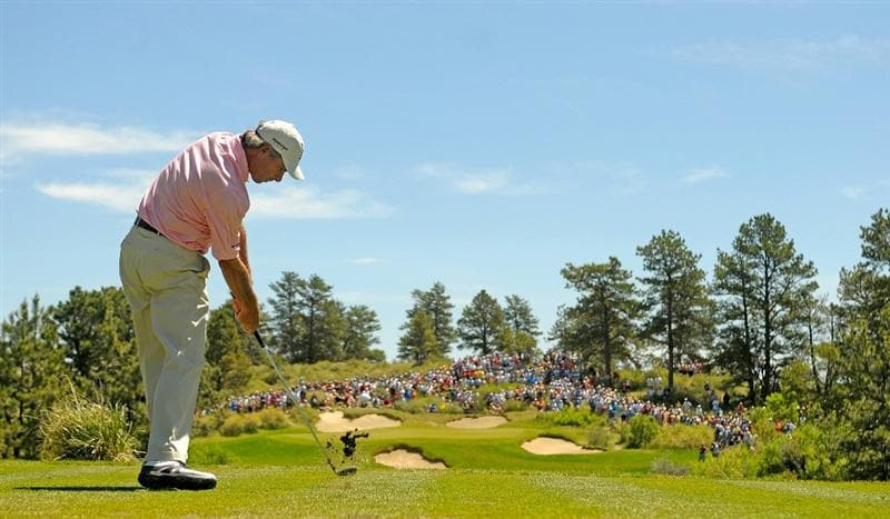 PARKER, CO. - MAY 29: Fred Couples tees off the par three second hole during the third round of the Senior PGA Championship at the Colorado Golf Club on May 29, 2010 in Parker, Colorado.  (Photo by Marc Feldman/Getty Images)