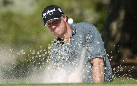 Andrew Magee blasts out of the greenside bunker on the 10th during the second round of the Wachovia Championship on Friday, May 6, 2005 at the Quail Hollow Club in Charlotte, North CarolinaPhoto by Marc Feldman/WireImage.com