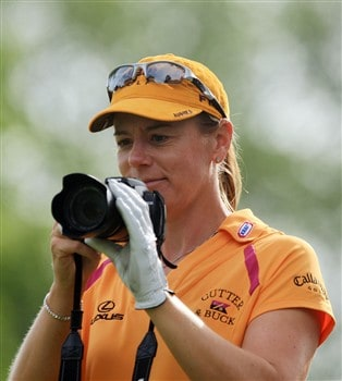 EDINA, MN - JUNE 25:  Annika Sorenstam of Sweden takes a picture of her coach and caddie during a practice round prior to the start of the 2008 U.S. Women's Open at Interlachen Country Club on June 25, 2008 in Edina, Minnesota.  (Photo by Scott Halleran/Getty Images)