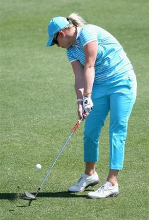 PHOENIX, AZ - MARCH 26:  Morgan Pressel hits her third shot on the sixth hole during the first round of the J Golf Phoenix LPGA International golf tournament at Papago Golf Course on March 26, 2009 in Phoenix, Arizona.  (Photo by Christian Petersen/Getty Images)