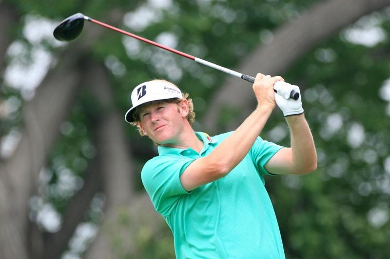 FORT WORTH, TX - MAY 20: Brandt Snedeker hits his tee shot on the ninth hole during the second round of the Crowne Plaza Invitational at Colonial Country Club on May 20, 2011 in Fort Worth, Texas. (Photo by Hunter Martin/Getty Images)