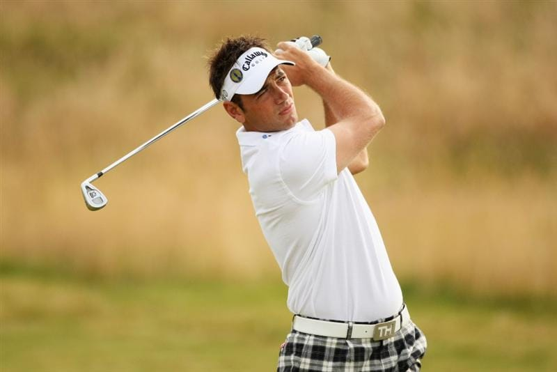 TURNBERRY, SCOTLAND - JULY 16:  Nick Dougherty of England hits an approach during round one of the 138th Open Championship on the Ailsa Course, Turnberry Golf Club on July 16, 2009 in Turnberry, Scotland.  (Photo by Warren Little/Getty Images)