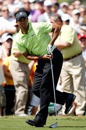 DORAL, FL - MARCH 14:  Tiger Woods hits is first shot on the 18th hole during the third round of the World Golf Championships-CA Championship on March 14, 2009 at the Doral Golf Resort and Spa in Doral, Florida.  (Photo by Jamie Squire/Getty Images)