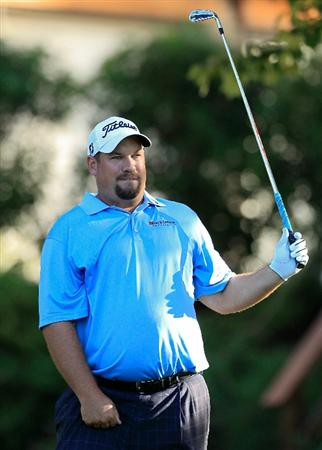 MADISON, MS - OCTOBER 01:  Brendon de Jonge of Zimbabwe reacts to a shot during the second round of the Viking Classic held at Annandale Golf Club on October 1, 2010 in Madison, Mississippi.  (Photo by Michael Cohen/Getty Images)
