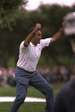 27 Sep 1997:  European team captain Seve Ballesteros celebrates during the second day foursomes of the Johnnie Walker Ryder Cup at the Valderrama Golf Club in Sotogrande in Spain.  \ Mandatory Credit: Ross Kinnaird /Allsport