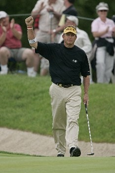 Dana Quigley birdies #13 in the final round of the 2005 Senior PGA Championship at Laurel Valley Golf Club - Ligonier, Pennsylvania. May 29, 2005Photo by Christopher Condon/WireImage.com