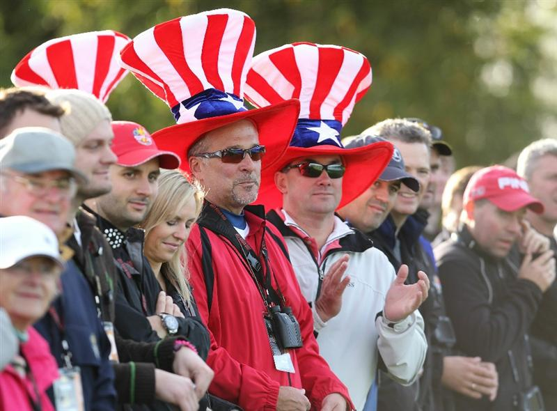 NEWPORT, WALES - OCTOBER 02:  USA fans show their support during the rescheduled Morning Fourball Matches during the 2010 Ryder Cup at the Celtic Manor Resort on October 2, 2010 in Newport, Wales. (Photo by Andy Lyons/Getty Images)