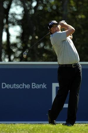 NORTON, MA - SEPTEMBER 04:  Steve Marino tees off from the 17th hole during the second round of the Deutsche Bank Championship at TPC Boston on September 4, 2010 in Norton, Massachusetts.  (Photo by Mike Ehrmann/Getty Images)