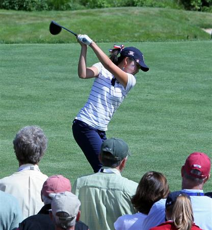 MANCHESTER, MA - JUNE 11: Tiffany Lua of the United States prepares to hit a tee shot during Four-Balls  competition of the 2010 Curtis Cup Match at the Essex Country Club on June 11, 2010 in Manchester, Massachusetts. (Photo by Jim Rogash/Getty Images)