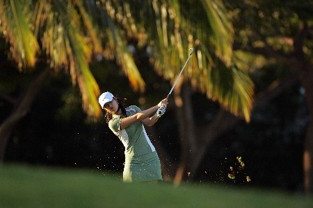KAPOLEI, HI - FEBRUARY 21: Michelle Wie hits her second shot on the 11th hole during the first round of the Fields Open on February 21, 2008 at the Ko Olina Golf Club in Kapolei, Hawaii. (Photo by Andy Lyons/Getty Images)