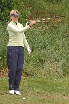Liselotte Neumann checks a chip shot on the sixth hole   April 30 in  the rain-delayed third  round of the 2005 Franklin American Mortgage Championship in Franklin, TN.Photo by Al Messerschmidt/WireImage.com